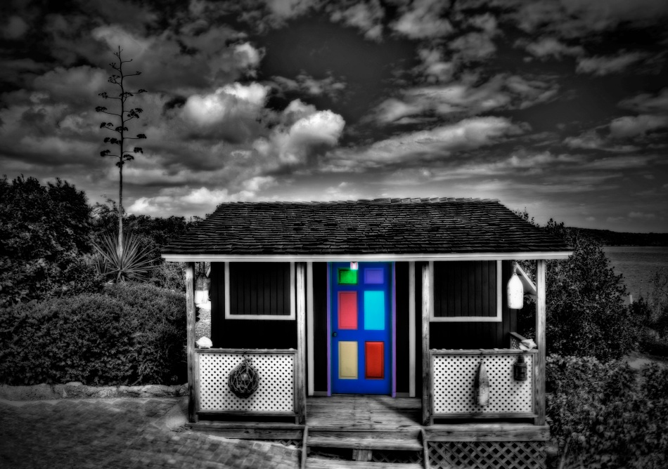 B&W HDR with Colorful Door