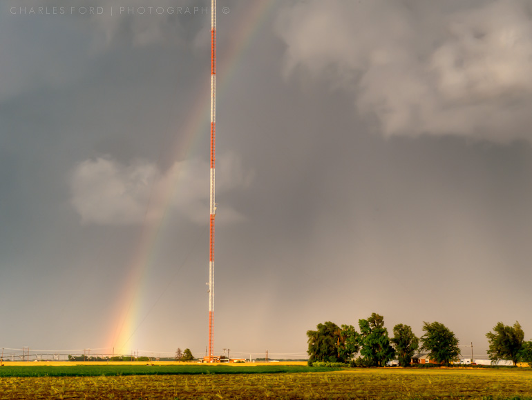 Rainbow and tower.