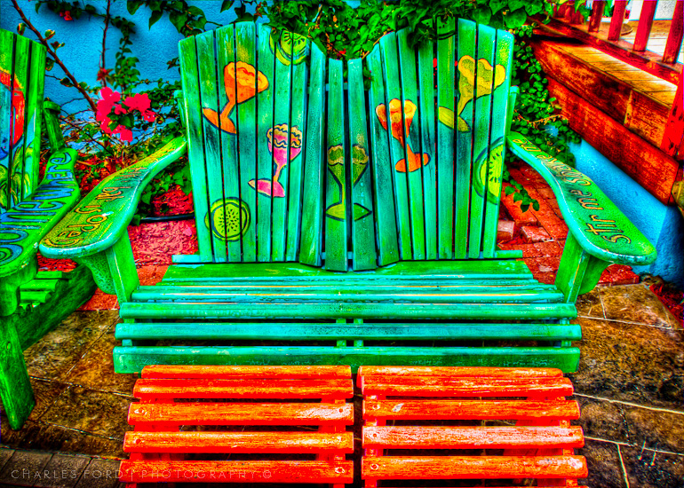 HDR of Colorful Bench at Margaritaville, Grand Turk Island